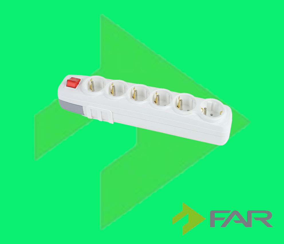 Earthed 6 Gang UPS Group Socket With Switch